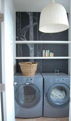 Chalkboard wall in laundry room