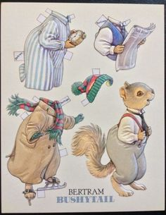 6 Large Paper Doll Postcards of the Bushytail Family, Artist Kathy Lawrence,1992