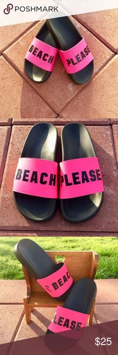 "Victoria's Secret Pink • Rare Beach Please Slides Victoria's Secret Pink brand • Rare ""Beach Please"" Pink Color Slides, Size Large 🏝  *Like New Condition"" Worn around the house one time. PINK Victoria's Secret Shoes Sandals"