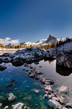 The view from Federa Lake, 2046m, Italian dolomites.
