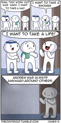 Funny Comics - - When he was in high school, James Rallison wasn't partying or winning football games like his older brother. Instead, he created the funniest comics ever! Theodd1sout Comics, Cute Comics, Funny Comics, Dark Humor Comics, 9gag Funny, Stupid Funny, Funny Memes, Hilarious, Funny Stuff