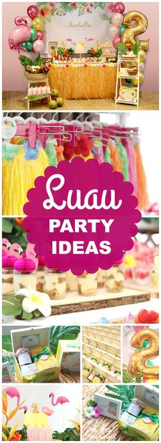This Hawaiian flamingo party is very exotic and beautiful! See more party ideas at CatchMyParty.com!