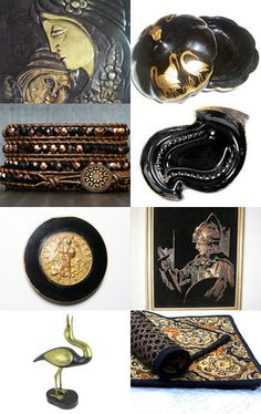 Beauties in Black and Gold - Epsteam by Helen on Etsy--Pinned with TreasuryPin.com