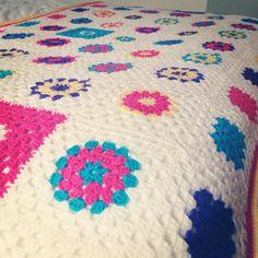 Pop art inspired granny square blanket.