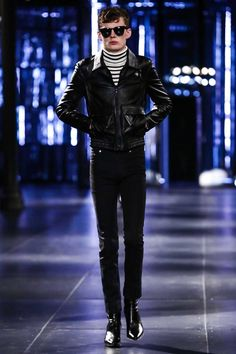 Saint Laurent Menswear Fall Winter 2015 Paris trends: short leather jacket, small dark trousers and graphic shirt