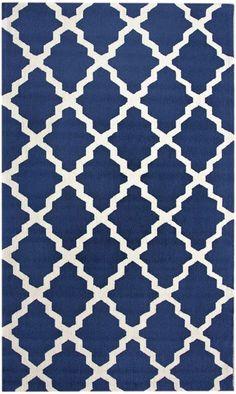 $5 Off when you share! Homespun Moroccan Trellis Navy Blue Rug   Contemporary Rugs #RugsUSA