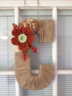 Letter wall decor/ wreath attachment/  rustic letter/ door hanging