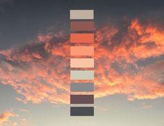 64 Ideas for yoga room colors paint colour palettes Paint Color Palettes, Colour Pallette, Colour Schemes, Paint Colors, Sunset Color Palette, Sunset Colors, Color Balance, Color Stories, Color Swatches