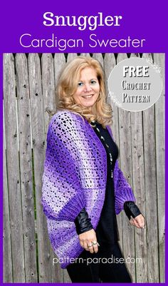 Free Crochet Pattern: Snuggler Cardigan Sweater | Pattern Paradise