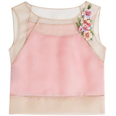 Alberta Ferretti - Silk Chiffon Cropped Top with Embellishment