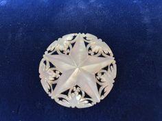 Vintage Bethlehem Pearl Pin Hand Carved Doves MOP Natural Shell