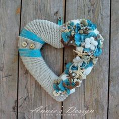 A tenger szerelmese - ajtódísz, Otthon, lakberendezés, Falikép, Koszorú, Ajtódísz, kopogtató, Újrahasznosított alapanyagból készült termékek, Virágkötés, Meska