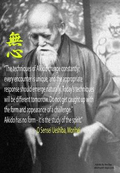 The techniques of Aikido change constantly; every encounter is unique, and the appropriate response should emerge naturally. Today's techniques will be different tomorrow. Do not get caught up with the form and appearance of a challenge Aikido has no form – it is the study of the spirit.