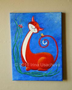 Peinture acrylique originale Fantasy Cat à vendre « Happy Cat en Orange avec des papillons »