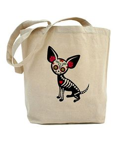 This Natural Sugar Skull Chihuahua Tote is perfect! #zulilyfinds