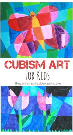 Picasso artist inspired Cubism art for kids. Spring arts & crafts ideas. Butterflies and tulips - abstract art