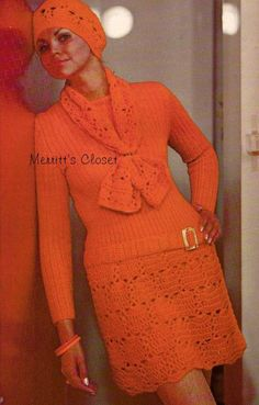 Dress Scarf & Beret Crochet / Knitting Vintage by MerrittsCloset