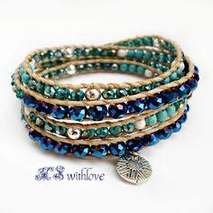 Boho Chic Bracelet, Blue Turquoise Wrap Bracelet, Sterling Silver Bead Bracelet, Blue Beaded Bracelet, Navy Blue Handmade Bracelet by MSwithlove on Etsy