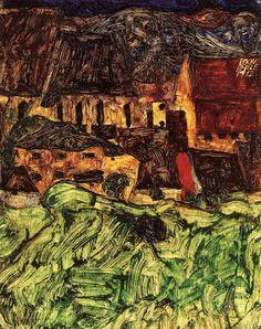 Meadow, Church and Houses, 1912, Egon Schiele