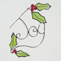 Joy Wire and Glass Holly Leaves Upcycled Stained by FiveSparrows