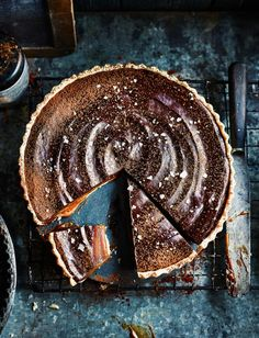 Miso butterscotch chocolate tart (it would be delicious with candied orange and chocolate, as well) Tart Recipes, Sweet Recipes, Baking Recipes, Dessert Recipes, Slow Cooker Desserts, Sweet Pie, Sweet Tarts, Decadent Chocolate, Chocolate Desserts