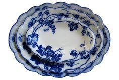 Flow Blue Grapevine Platters, S/3