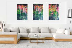 Blessings from above- XXL triptych colorfull abstract Golden Color, Triptych, Abstract Landscape, Vivid Colors, Blessings, Landscapes, Blessed, Room, Painting