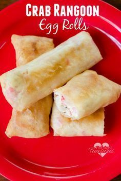 Crazy-easy crab rangoon egg rolls are the perfect party appetizer! Use these for football games, holiday parties, kid parties or just a late-night snack for mom and dad. Enjoy this easy recipe tonight! www.pintsizedtreasures.com
