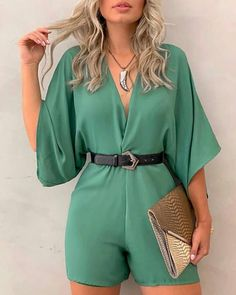 Solid V-Neck Three Quarter Sleeve Casual Romper casual jumpsuits jumpsuits outfits formal jumpsuits elegant jumpsuits jumpsuits for work two piece jumpsuits rombers outfits rombers for women rombers pants hot short rombers Trend Fashion, Look Fashion, Autumn Fashion, Fashion Outfits, Womens Fashion, Fashion Clothes, Latest Fashion, Two Piece Jumpsuit, Casual Jumpsuit