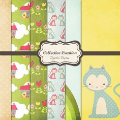 Miss Kitty's House Digital Paper Set  Set of by CollectiveCreation, $4.00