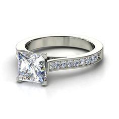 Princess Diamond Platinum Ring with Diamond