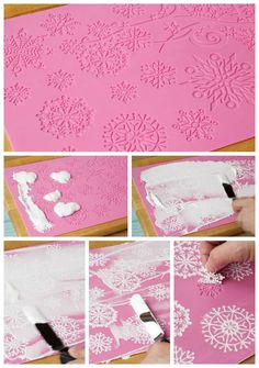 Simple Snowflake Cookies with Cake Lace Snowflakes via www.thebearfootbaker.com