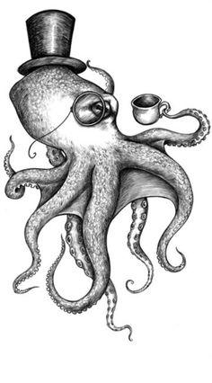 M Octopus Sweat Marin Tatouage Imprimer Pull Mer Animal Top Hat
