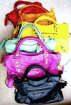 The colours of Balenciaga. Note to self: Buy Balenciaga in gorgeous colours. Balenciaga Bag, Balenciaga Motorcycle Bag, Balenciaga Handbags, Motorcycle Bags, Balenciaga Designer, Leather Handbags, Look Fashion, Fashion Bags, Fashion Handbags
