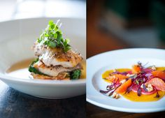 Foo Photography Tip: Plate up and use height to your advantage. Back light high-plated dishes to show off highlights along both sides of the dish. The photo on the right uses front lighting since there was no height to create shadows. While the picture is okay, it's not too memorable.