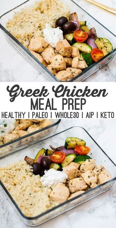 One Pan Greek Chicken Meal Prep (Paleo, AIP) This one-pan greek chicken is the perfect dish for healthy meal prep! It's full of veggies, healthy protein, and features a dairy-free tzatziki. It's paleo,. Lunch Meal Prep, Healthy Meal Prep, Healthy Drinks, Healthy Recipes, One Pan Meal Prep, Healthy Meals For One, Veggie Meal Prep, Paleo Recipes Easy Quick, Meal Prep Recipes