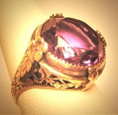 Antique Wedding Ring Amethyst Silver Filigree Art Deco Floral