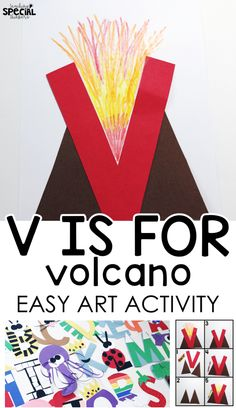 letter v craft v is for volcano easy art letter craft for students with special needs or an early childhood pre-school classroom to work on fine motor tasks and step-by-step visual directions Alphabet Letter Crafts, Abc Crafts, Preschool Letters, Alphabet Book, Preschool Learning, Preschool Crafts, Spanish Alphabet, Letter Tracing, Letter Art