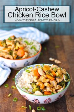A simple Apricot Cashew Chicken Rice Bowl made in the time it takes rice to cook! Best Gluten Free Recipes, Real Food Recipes, Healthy Recipes, Lunch Recipes, Asian Recipes, Easy Recipes, Healthy Food, Healthy Baked Chicken, Cashew Chicken