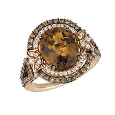 Le Vian Caramel Quartz Ring With Chocolate & Vanilla Diamonds