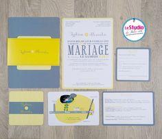 faire part mariage gris et jaune - le studio de Julie (1)