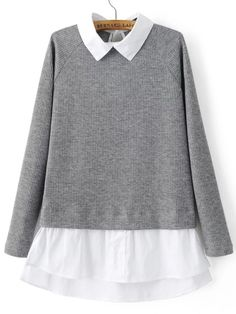 Shop Grey Contrast Collar And Hem Raglan Sleeve Knitwear online. SheIn offers Grey Contrast Collar And Hem Raglan Sleeve Knitwear & more to fit your fashionable needs. Latest Street Fashion, Trendy Fashion, Fashion Outfits, Ribbed Sweater, Pullover Sweaters, Loose Sweater, Gray Sweater, Shirt Collar Styles, Contrast Collar