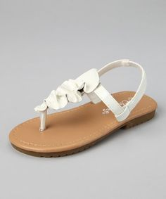 White T-Strap Sandal by Hello Toes: Summer Sandals on #zulily