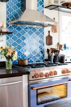 Home Renovation Design Bluestar RNB Series Range from AJ Madison with Fireclay Tile Aegean Sea Paseo Tile Backsplash featured in. Cottage Kitchen Renovation, Cottage Kitchens, Home Renovation, Home Remodeling, Cottage Farmhouse, Coastal Cottage, Nantucket Cottage, Kitchen Remodeling, Coastal Kitchens
