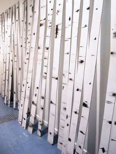 Birch trees made of foam core and paint. Gotta be some use for this idea
