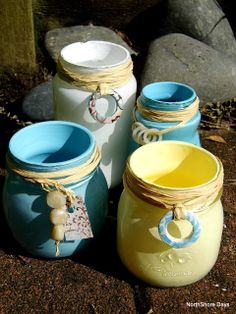 NorthShore Days.....: Painted Jars - Inspired by the Beach