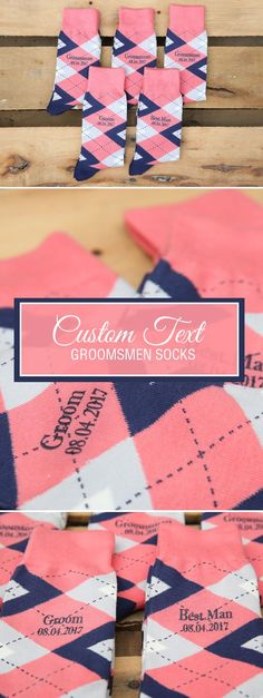 Looking for a way to customize your coral and navy wedding? We are now customizing our most popular wedding colors with wedding dates, wedding text and monograms. Give your groomsmen in your wedding a gift they will never forget that will always remind them of your big wedding day: custom coral groomsmen socks. Shop these coral and navy custom text socks and more.