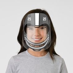 Football Helmet Black White Numbered Kids' Face Shield - tap/click to get yours right now! #KidsFaceShield  #football #american #sport #boys #girls White Ink, Red And White, Pink Black, Navy Blue, Helmet Light, Clear Face, Plastic Animals, Glasses Frames, Perfect Match
