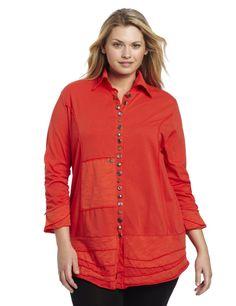 Neon Buddha Womens Plus-Size Artisans Shirt, Inspired Red, 2X