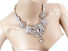 Wedding Necklace Swarovski Pearl Rhinestone & Crystal brooch necklace Bridal Necklace Wedding Jewelry Wedding accessory